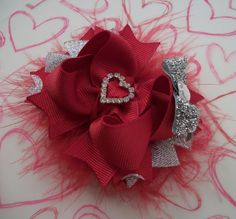 Valentines Day Bow Silver and Red Fluffy Marabou Bow Boutique Bow with Rhinestone Heart