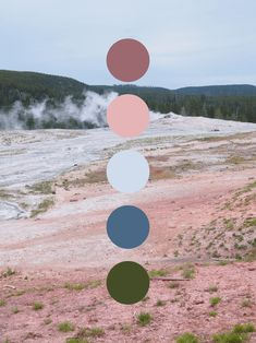 Old Faithful Color Palette - Color scheme inspired by Old Faithful in Yellowstone National Park. Featuring pinks, blues, and gre - Scheme Color, Color Schemes Colour Palettes, Green Colour Palette, Color Combos, Complimentary Color Scheme, Brown Color Schemes, Pantone, Inspiration Art, Design Seeds