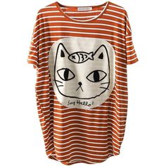 Allegra K Women's Scoop Neck Stripes Cartoon Cat Round Hem Tunic Shirt (150 ARS) ❤ liked on Polyvore featuring tops, t-shirts, shirts, t shirt, stripe t shirt, comic t shirts, striped shirt, scoop neck t shirt and cat t shirt