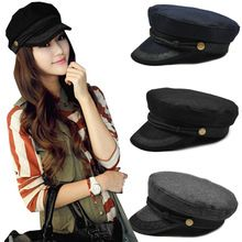 36b4dec62 2017 Women Winter Fashion beret hat Female Military Hats Sailor Caps black  Grey Captain hat cap Casquette Militaire beret(China)