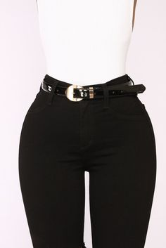 Cassie Patent Leather Belt - Black