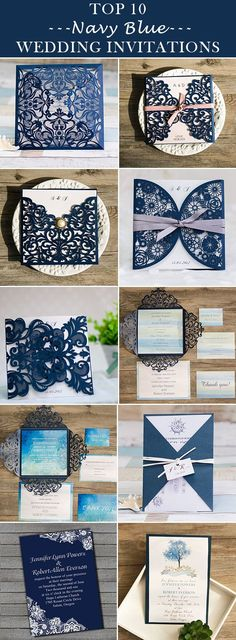 classic navy blue wedding invitations 2016 trends @ElegantWeddingInvites - FREE RSVP CARDS, FREE SHIPPING