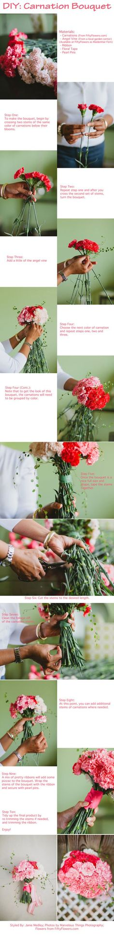 DIY Carnation Bouquet! #DIY #Wedding #Bouquet
