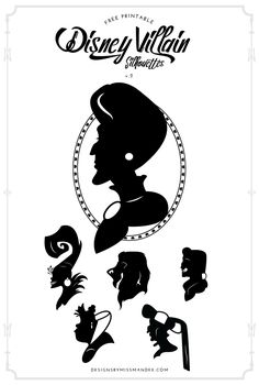 FREE Disney Villain Silhouettes v.2 - Designs By Miss Mandee. I love that these villain silhouettes look like a souvenir straight from Disneyland! These would be perfect to incorporate in Halloween decor.