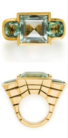 A green quartz and fluorite ring, Tony Duquette centering a square-cut green quartz flanked by cushion-shaped fluorite, all within a heavy, tapered, reeded mount; signed Tony Duquette; green quartz weighing approximately: 17.00 carats; estimated total fluorite weight: 9.60 carats; mounted in eighteen karat gold. *