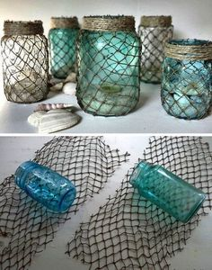 Decorate some useful jars with netting. If you're going for an ocean or nautical theme in your bathroom these jars make the best accents. -