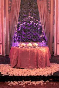 Sweetheart table for wedding reception, purple wedding