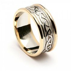 The embossed Celtic knot wedding ring boasts a chunky trim with intricately worked Celtic knots as a symbol of eternal love and commitment. Made in Ireland. Wedding Rings Sets His And Hers, Wedding Ring For Him, Wedding Ring Styles, Celtic Knot Ring, Celtic Rings, Celtic Knots, Irish Wedding Rings, Celtic Wedding Bands, Ring Set