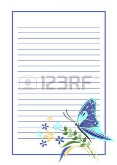 Vector blank for letter or greeting card Blue form with frame lines butterfly and flowers A4 format  Stock Vector