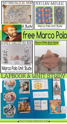 Free Marco Polo Lapbook, Unit Study and Hands-On Activities @ Tina's Dynamic Homeschool Plus Camping Activities, Hands On Activities, Kindergarten Activities, Preschool, Explorers Unit, Early Explorers, Marco Polo Explorer, Middle Ages History, 7th Grade Social Studies