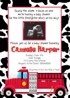 Firefighter Baby Shower Invitation- DIY Printable by Simply Sprinkled