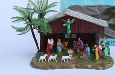 Vintage Plastic Christmas Nativity Set with Box Model by Modnique, $49.99
