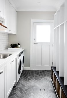 Mudroom Entryway - mud room laundry, locker style, shaker cabinets, herringbone floor, grey and whi. Mudroom Laundry Room, Laundry Room Remodel, Laundry Room Cabinets, Laundry Room Floors, Mudrooms With Laundry, Laundry Room With Sink, Mud Room Lockers, Laundry In Kitchen, White Laundry Rooms