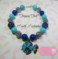 """""""Tropical Fish"""" Chunky Beaded Necklace, Photo Prop, Girly, Vacation, Beach"""