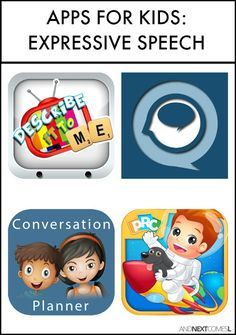 Speech apps for kids with autism or hyperlexia to work on expressive language and conversation skills from And Next Comes L