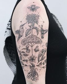 """9,900 Likes, 42 Comments - Pony Reinhardt Tattoo (@freeorgy) on Instagram: """"Magickal herb garden with hummingbird, snowberry clearwing moth, and honeybee! Thanks Marissa!"""""""