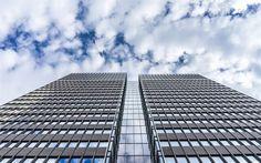 壁紙をダウンロードする 近代ビル, 高層ビル群, 事業センター, ファサードの高層ビル群, 近代建築