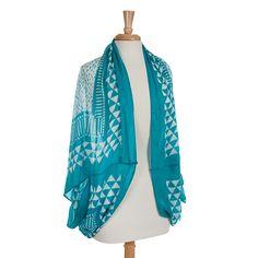 Wholesale lightweight turquoise white arrow shrug Polyester