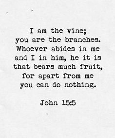 "spiritualinspiration:  Jesus said, ""If you abide in Me, you will bear much fruit."""