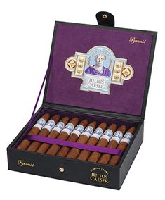 The Diamond Crown Julius Caeser line of Cigars honors the cigar pioneer and founder of the J.C. Newman Cigar Company, Julius Caeser Newman. These cigars are meticulously hand rolled in small batches. The flavorful Havana-seed wrapper combines with a smooth and robust blend of fine Central American tobaccos aged 5 years to give the Julius Caeser cigar its bold, rich flavor. Connoisseurs will experience a rich, coffee-laden smoke balanced by sweet and spicy woody flavors with a savory finish.