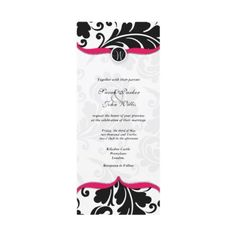 Black and white  Damask Wedding Invite with pink by Cards_by_Cathy
