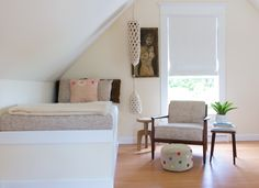 Sample attic bedroom layout - A Stylist's Historic Beach Home in Oysterville, WA | Design*Sponge