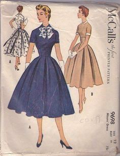 MOMSPatterns Vintage Sewing Patterns - McCall's 9698 Vintage 50's Sewing Pattern GORGEOUS Modest Lucy Rockabilly High Rise Waist Empire Bodice Cocktail Party Dress, Sash Tie or Belt, Box Pleats Skirt Size 12