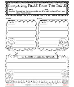 FREE Informational Reading and Writing Lessons Compare Two Texts, Comparing Texts, Reading Resources, Reading Activities, Reading Skills, Teaching Reading, Teaching Ideas, Dyslexia Teaching, Reading Books