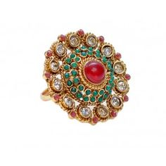 Beautiful  maroon, green and white polki ring
