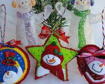 Felt Snowman ornaments-3D Snowman ornaments-Handmade Felt Christmas tree decorations-Holiday decor-Felt Christmas decoration-THREE ORNAMENTS