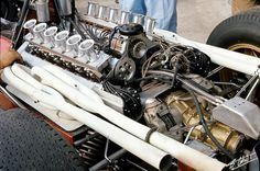 f1 1966,XXXVII Gran Premio d'Italia. Monza. El fantástico motor Ferrari 218 V12 3.0 del Ferrari 312-Photo by Bernard Cahier-property Cahier Archive