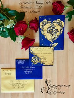Beauty And The Beast Inspired Rose Gatefold Laser Cut Invitation With  Matching Laser Cut RSVP Card