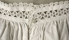 """Chemise Date1860–65 Culture: American or European. MMA, C.I.44.48.12a, b. Chemise and drawers set, trimmed with """"lace"""" made from waved braid (rickrack)."""