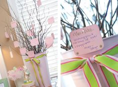 This lovely baby shower just makes me swoon! Stacy of Preppy & Pink styled the shower for her best friend, Courtney, who was expecting twin girls. Courtney's favorite color is pink, so of course that had to be the theme for the day! These gift . Baby Shower Fall, Baby Shower Favors, Shower Party, Baby Shower Gifts, Baby Gifts, Bridal Shower, Thankful Tree, Wishes For Baby, Party Activities