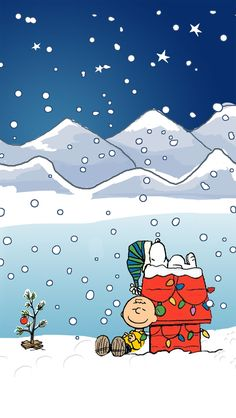 SNOOPY AND CHARLIE BROWN CHRISTMAS, IPHONE WALLPAPER BACKGROUND