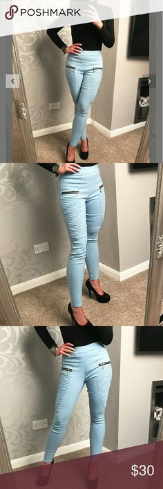 """Moto skinny trousers Sky blue, zipper detail moto leggings.  Back pockets  37"""" in length 85% polyamide 15% elastane Made in the UK.   ON TREND perfect for any season casual or party wear! Boutique Pants Trousers"""