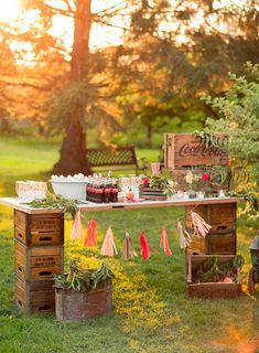 rustic wooden crates wedding dessert table ideas