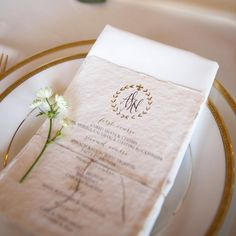 menu with monogram in laurel - calligraphy on Fabulous Fancy Pants deckled edge cotton rag paper