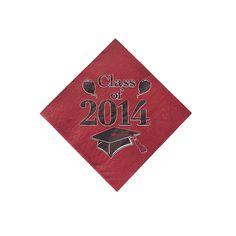 """Class+of+2014""+Graduation+Burgundy+Beverage+Napkins+-+OrientalTrading.com"
