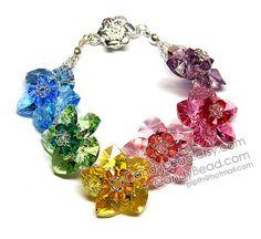 Swarovski bracelet Sweet Rainbow Flowers Swarovski by candybead, $45.00