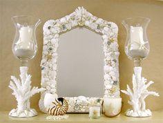 mirrors coastal Decor | Beach Decor Designer Seashell Mirror by SeashellCollection