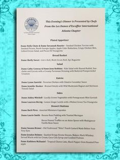Here is a special preview of our menu for tomorrow's dinner!  A giant heart-felt thank you to Les Dames D'Escoffier International - Atlanta Chapter and all the talented chefs that help put this together.    Shaken Not Stirred Gala 2016 will be one to remember!  Georgia Ovarian Cancer Alliance and all the amazing individuals that help this cause are very special to us. We take flight tomorrow!  #GOCA #ovariancancer #dinner #menu #chefs #food #culinary