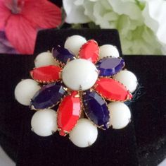 """Reduced! Vintage Juliana Aurora Borealis Rhinestone Red, White and Blue 2"""" Round Brooch Set in Goldtone Metal. We have reduced the price to the lowest it has ever been which is $20.00. Get it while you can the sale is over on Sunday evening. Have a great vintage day. www.CCCsVintageJewelry.com"""