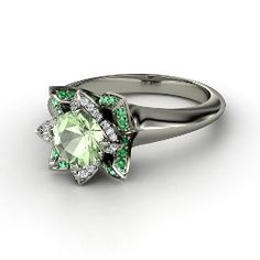 Lotus Ring, Round Green Amethyst White Gold Ring with Emerald $2,674