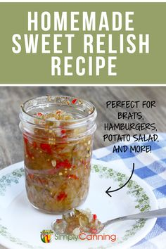 This easy canning recipe for homemade sweet relish is used for summertime hot dogs, potato salad, hamburgers, and more! Hamburger Relish Recipe, Hot Dog Relish Recipe, Sweet Relish Recipe Canning, Easy Canning, Canning Recipes, Canning 101, Pressure Canning, Cucumber Relish Recipes, Cucumber Canning