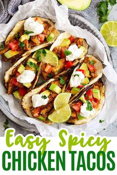 Spicy Chicken Tacos -are an easy chicken taco recipe filled with simple and clean ingredients. It takes less than 30 minutes to make and pleases the whole family! #tacos #chickentacos Entree Recipes, Mexican Food Recipes, Dinner Recipes, Ethnic Recipes, Chicken Taco Recipes, Chicken Tacos, Recipes Using Ground Beef, Recipe Using Chicken, Tacos And Burritos