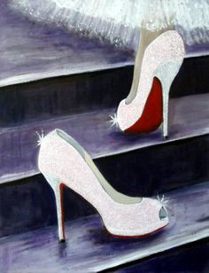 6775fd66cd06 Art Print of CHRISTIAN LOUBOUTIN Glitter Shoes Acrylic Painting (Cinderella  Theme) 7 x 5