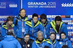 (L-R) Yuki Nishino, Kenrato Suzuki, Toshimasa Furukawa, Ryuju Hino, Miyabi Oba, Takahiko Kozuka, Kei Nishimura (JPN), FEBRUARY 8, 2015 - Figure Skating : the 27th Winter Universiade Granada 2015 Figure Women's free skating at Universiade Igloo, Granada, Spain. (Photo by AFLO SPORT)
