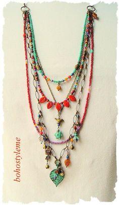 Handmade Choker Leaf Pendant Necklace Mixed Vintage Beads Womens Fashion Jewelry