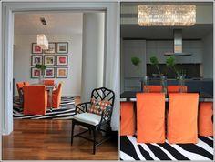 Décor de Maison / Décoration Chambre: Le trio d'Orange, le Blanc et le Noir dans vos maisons